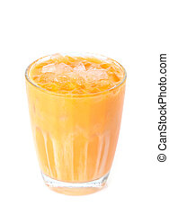 iced milk tea on white background