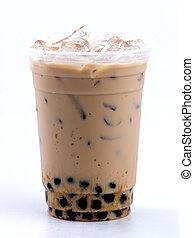milk tea with bubble - iced milk tea with bubble