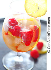 Iced wine drink with fruits