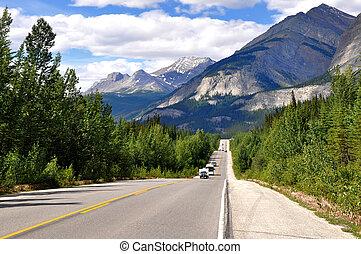 icefields 公園道路, 中に, カナダ