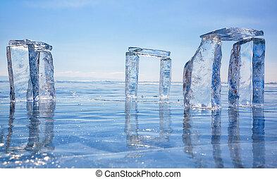icehange, -, stonehenge, gemaakt, van, ijs