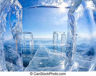 Icehange - stonehenge made from ice on lake Baikal in...