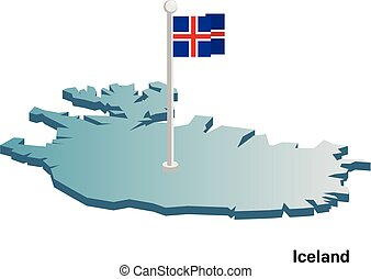 Iceland 3d vector map with national flag