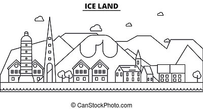 Iceland architecture line skyline illustration. Linear vector cityscape with famous landmarks, city sights, design icons. Landscape wtih editable strokes