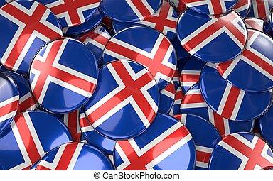 Iceland Badges Background - Pile of Icelandic Flag Buttons.
