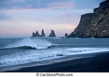 Iceland beach - Iceland - Reynisdrangar - Rock Formation on...