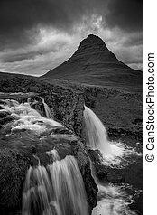 Iceland. - Black and white image of Icelandic landscape and...