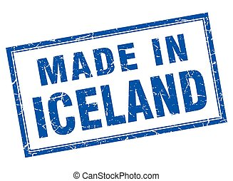 Iceland blue square grunge made in stamp