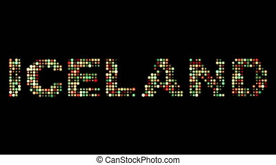 Iceland colorful led text