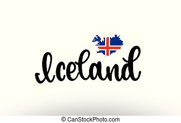 Iceland country big text with flag inside map concept logo