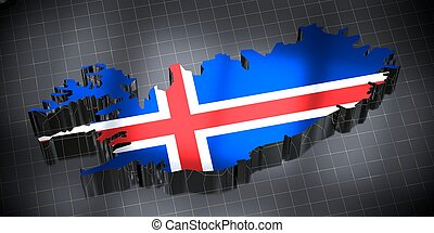 Iceland - country borders and flag - 3D illustration