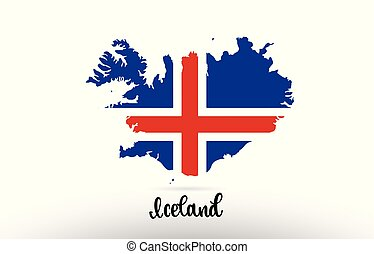 Iceland country flag inside map contour design icon logo