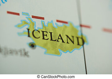 Iceland country on paper map