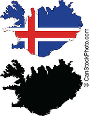 iceland - vector map and flag of Iceland with white...