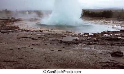 Iceland, eruption of geyser - Iceland, eruption of the...