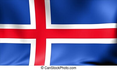 Iceland Flag. Background Seamless Looping Animation.
