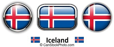 Iceland flag buttons, 3d shiny vector icons.
