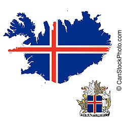 Iceland Flag - Flag and coat of arms of Iceland overlaid on...
