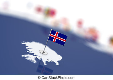 Iceland flag in the focus. Europe map with countries flags