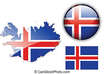 Iceland flag, map and glossy button