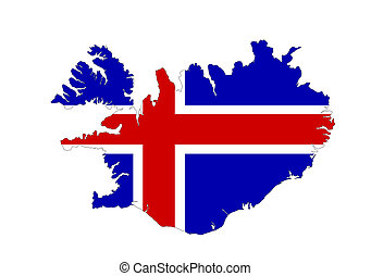 iceland flag map - iceland country flag map shape symbol...