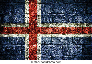 Iceland flag on old brick wall