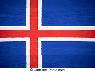 Iceland flag on wood texture