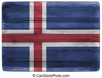 Iceland flag on wooden board