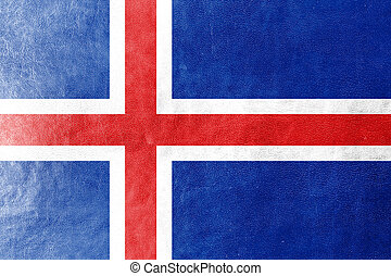Iceland Flag painted on leather texture