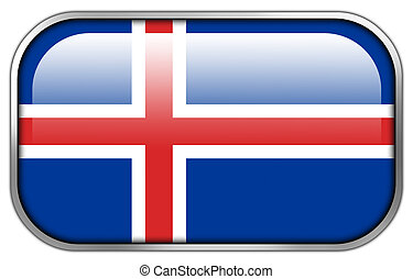 Iceland Flag rectangle glossy button