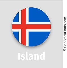 Iceland flag, round icon with shadow
