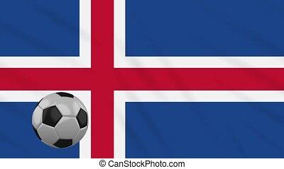 Iceland flag waving and football rotates, loop - Iceland...