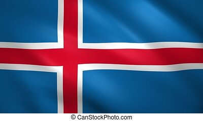 Iceland flag waving in the wind