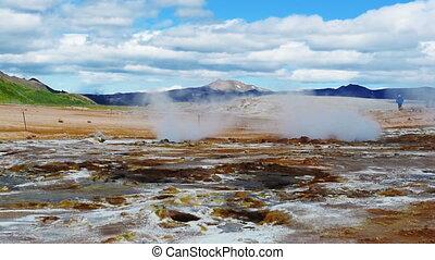 Geothermal area at Hverir - Iceland. Geothermal area at...