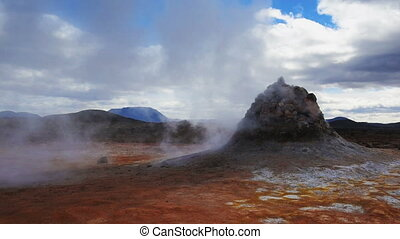 Geothermal area at Hverir - Iceland. Geothermal area at...