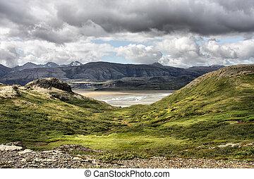 Iceland. Jokulsa i Loni river valley, beautiful mountain...