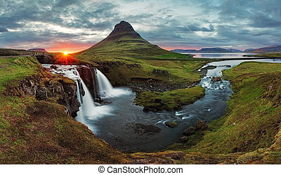 Iceland Landscape spring panorama at sunset - kirkjufell
