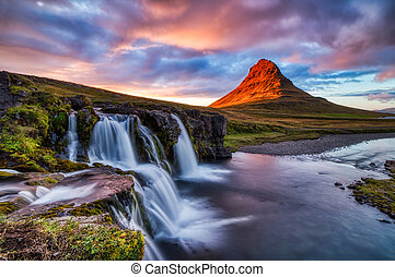 Iceland Landscape Summer Panorama, Kirkjufell Mountain at Sunset with Waterfall in Beautiful Light