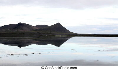 Steady shot of Iceland Lake and mountains Landscape