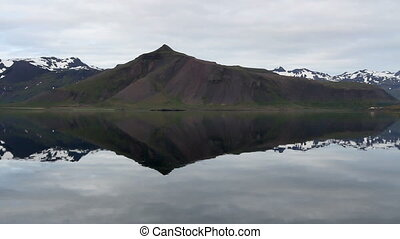 Steady shot of Iceland Lake and snowy mountains Landscape