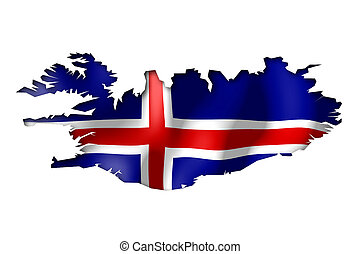 Iceland - map and flag illustration.