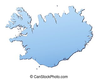 Iceland map filled with light blue gradient. High...