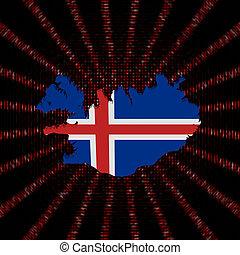 Iceland map flag on red hex code burst illustration