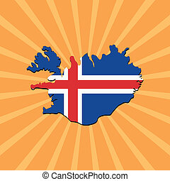 Iceland map flag on sunburst