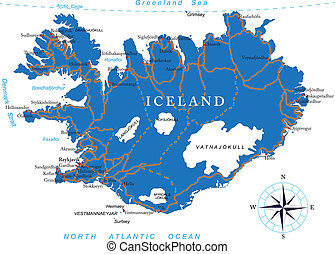 Iceland Map - Highly detailed vector map of Iceland with...