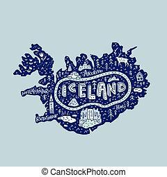 Iceland Map Illustration