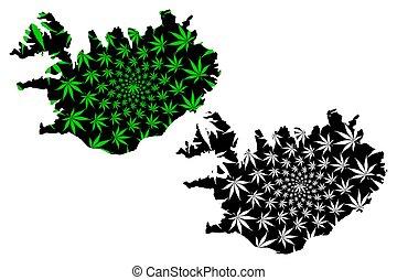 Iceland - map is designed cannabis leaf
