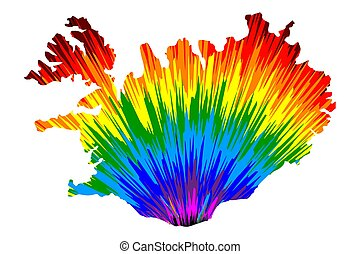Iceland - map is designed rainbow abstract colorful pattern