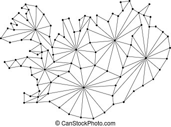 Iceland map of polygonal mosaic lines network, rays and dots vector illustration.
