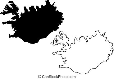 Iceland map vector illustration, scribble sketch Iceland